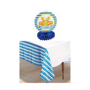 Oktoberfest Honeycomb Centerpiece and Plastic Table Cover Combo
