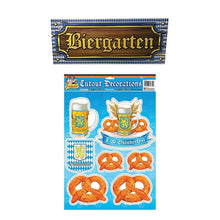 Load image into Gallery viewer, Oktoberfest Biergarten Sign and Cardstock Cut Outs Decoration Set