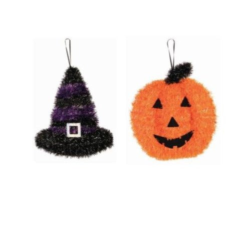 Halloween Tinsel Witch Hat and Pumpkin Jack-o'-Lantern Combo Hanging Decoration