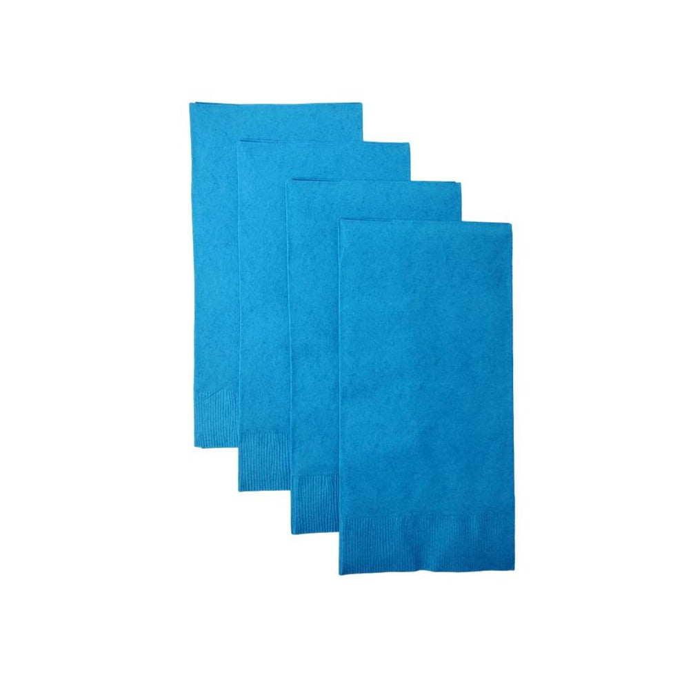 Turquoise Plain Solid Color Paper Disposable Dinner Guest Hand Towels Napkins