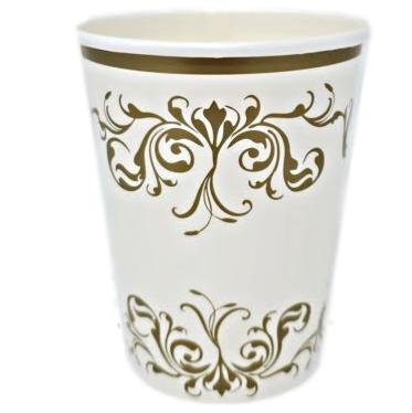 Gold Scroll 8 oz Paper Cups – 8 CT
