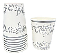 Load image into Gallery viewer, Silver Scroll 8 oz Paper Cups – 8 CT