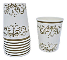 Load image into Gallery viewer, Gold Scroll 8 oz Paper Cups – 8 CT