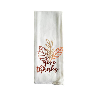 "Harvest Fall Design Woven Kitchen Towels ""Give Thanks"" - 2 Pack"