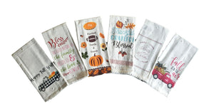 Fall and Harvest Saying Kitchen Towels – Set of 6