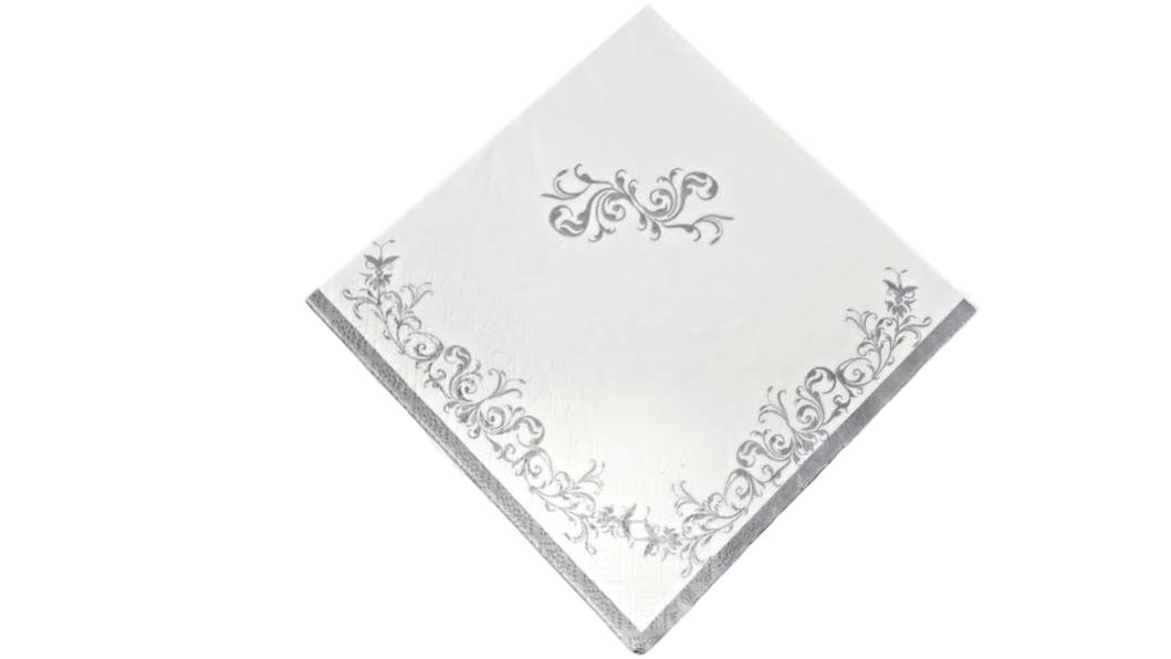 Silver Scroll Beverage Cocktail Napkins – 16 PC