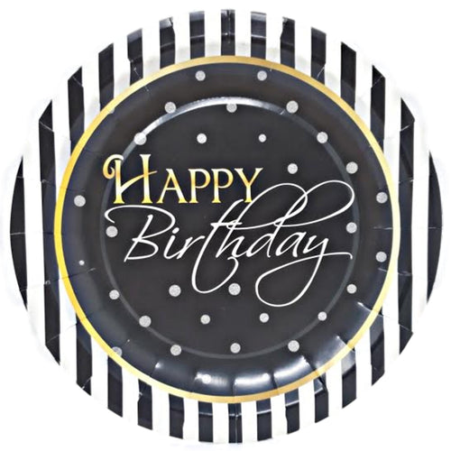 "Elegant Happy Birthday 7"" Dessert Paper Plates – 8 CT"