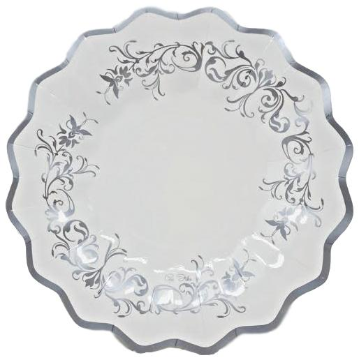 Silver Scroll 10.5 in Paper Plates –  8 CT