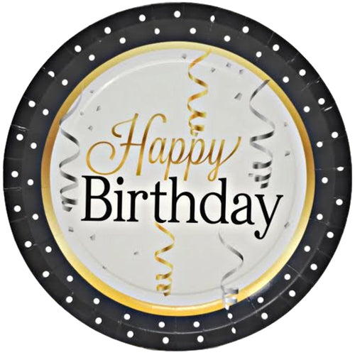 "Elegant Happy Birthday 9"" Paper Plates – 8 CT"