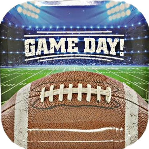 "Game Day Football Collection 9"" Square Paper Plates – 8 CT"