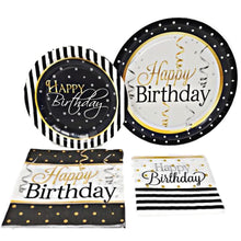 "Load image into Gallery viewer, Elegant Happy Birthday 9"" Paper Plates – 8 CT"