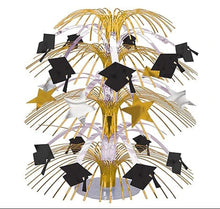 Load image into Gallery viewer, Black, Gold & Silver Graduation Cascade Centerpiece – 1 Piece