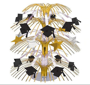 Black, Gold & Silver Graduation Cascade Centerpiece – 1 Piece