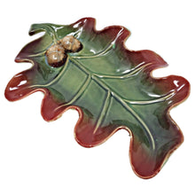 Load image into Gallery viewer, Oak Leaf Ceramic Serving Dish 10x7.75in