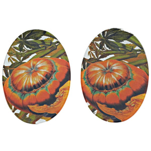 Autumn Squash Oval Glass Serving Plate 5.75x9.75in - Set of 2