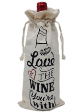"Load image into Gallery viewer, Cotton Canvas Wine Gift Bags ""Love the Wine You're With"" – Set of 2"