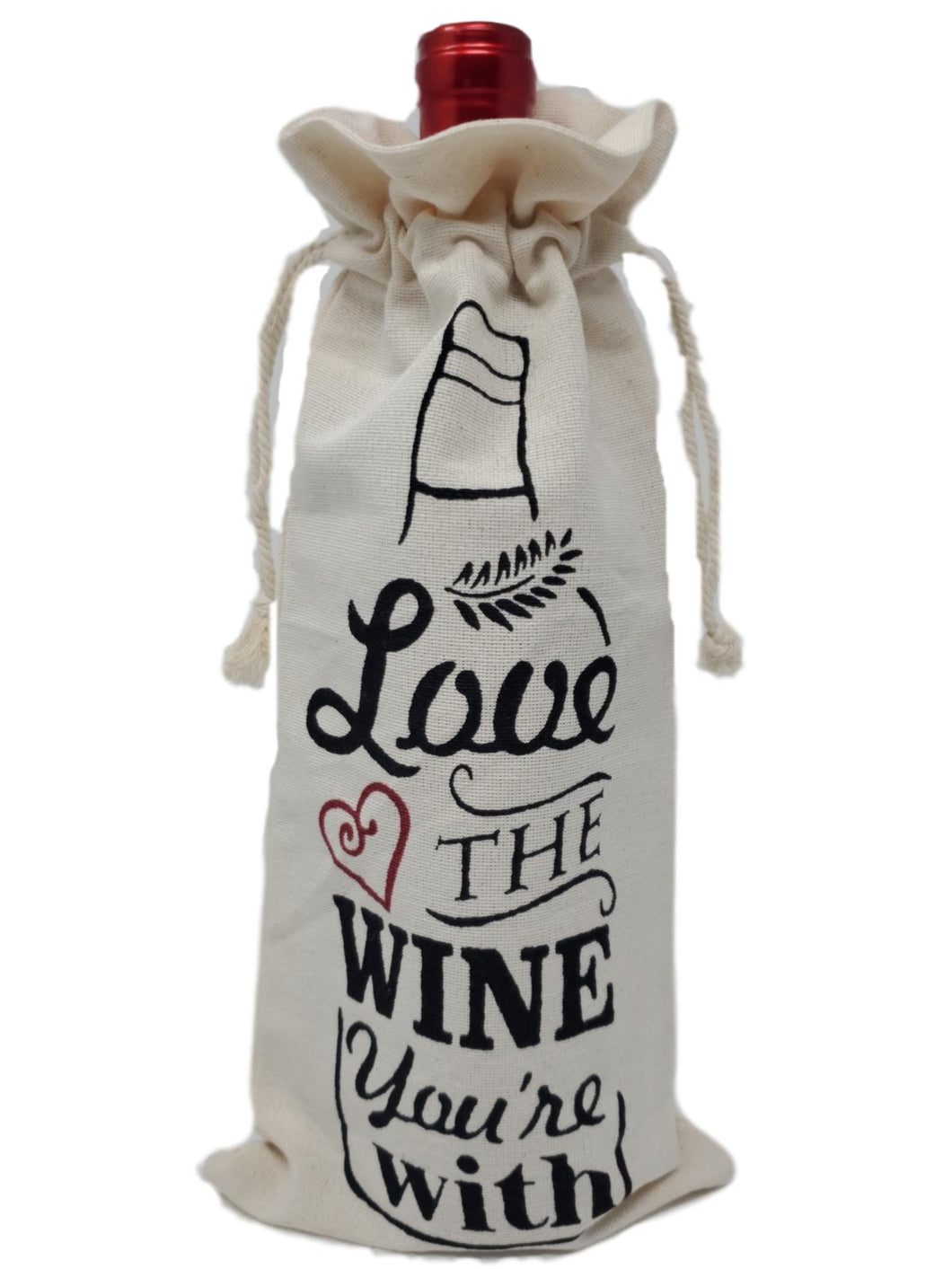 "Cotton Canvas Wine Gift Bags ""Love the Wine You're With"" – Set of 2"