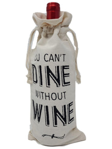 "Cotton Canvas Wine Gift Bags ""You Can't Dine Without Wine"" – Set of 2"