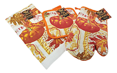 Harvest/Fall/Thanksgiving 3 Piece Set with Potholder, Oven Mitt and Kitchen Towel