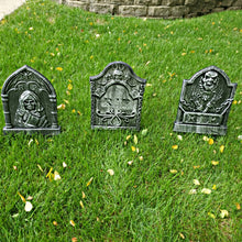 Load image into Gallery viewer, Tombstone Plastic Yard Stakes 3 Assorted Styles Measuring 12 x 9 inches