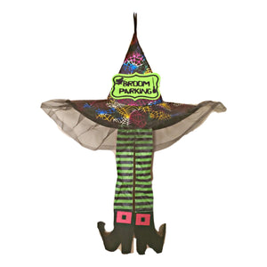 "Witch Hanging Décor Hat Legs 29 inch ""Broom Parking"""