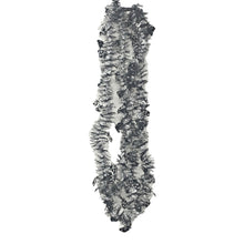 Load image into Gallery viewer, Tinsel Skinny Black and Silver Garlands with Black Skulls 9 Feet Long – 2 Pack