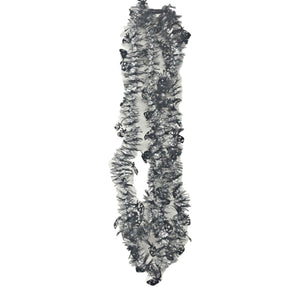 Tinsel Skinny Black and Silver Garlands with Black Skulls 9 Feet Long – 2 Pack