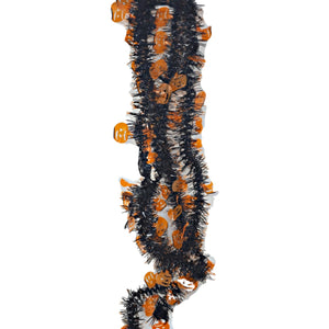 Tinsel Skinny Black Garlands with Orange Pumpkins 9 Feet Long – 2 Pack