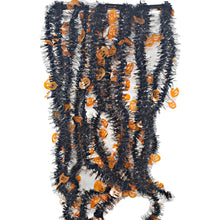 Load image into Gallery viewer, Tinsel Skinny Black Garlands with Orange Pumpkins 9 Feet Long – 2 Pack