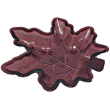 Load image into Gallery viewer, Fall Leaf Shaped Plastic Serving Dish Burgundy – Set of 2