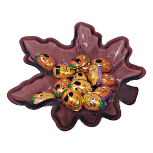 Fall Leaf Shaped Plastic Serving Dish Burgundy – Set of 2