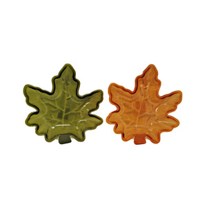 Fall Leaf Shaped Plastic Serving Dish Orange and Green – Set of 2