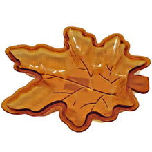 Load image into Gallery viewer, Fall Leaf Shaped Plastic Serving Dish Orange and Green – Set of 2