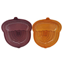 Load image into Gallery viewer, Acorn Shaped Fall Plastic Serving Dish Burgundy and Orange – Set of 2