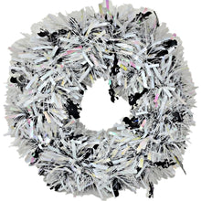 Load image into Gallery viewer, Tinsel Halloween Wreath White with Black Bats