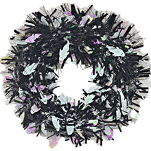 Load image into Gallery viewer, Tinsel Halloween Wreath Black with White Ghosts