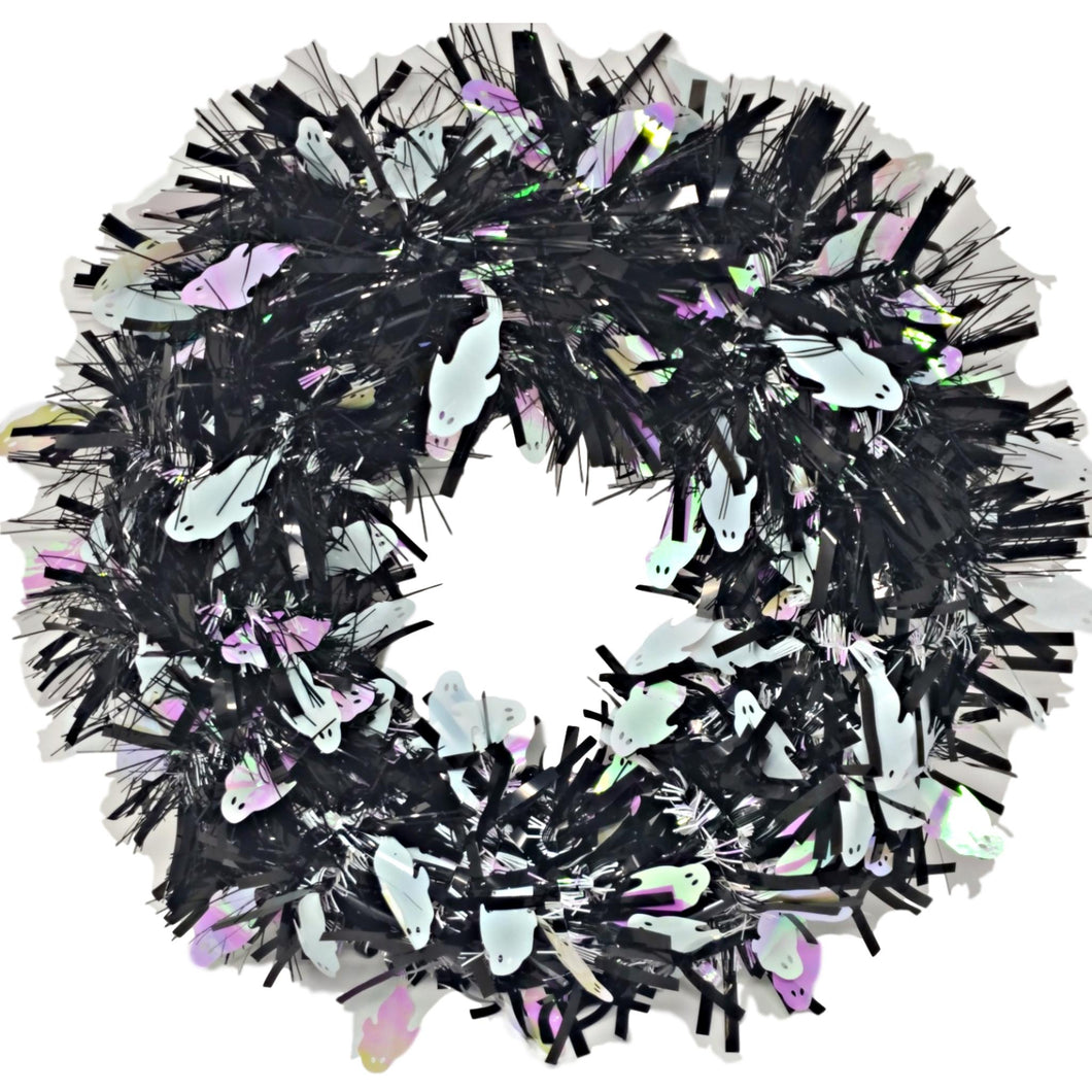 Tinsel Halloween Wreath Black with White Ghosts