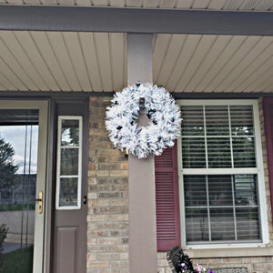 Tinsel Halloween Wreath White with Black Bats
