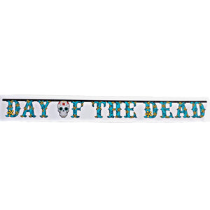 Day of The Dead Halloween 7 Feet Teal Letter Banner