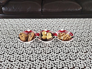 Dolomite Santa Serving Tray 3 Section 5x13.75x1.75H