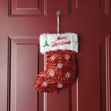 "Load image into Gallery viewer, Christmas Tinsel Stocking ""Merry Christmas"" 14"" x 10"" – 1 Piece"