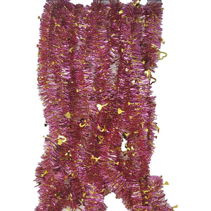 Valentine's Day Tinsel Skinny Pink and Gold Garland with Gold Silhouette Hearts 9 FT Long – 2 Pack