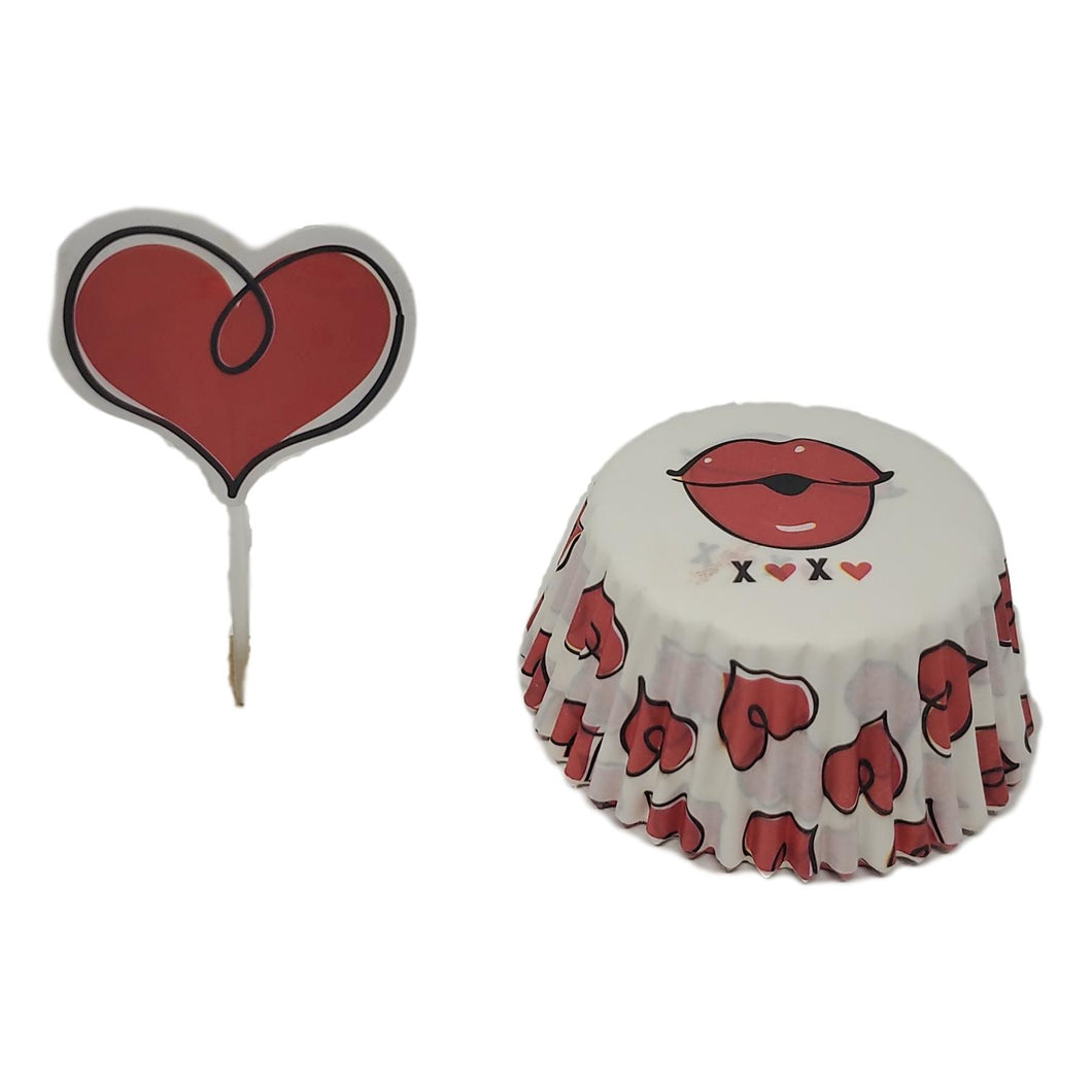 White and Red Valentine's Day Cupcake Kit for 24 with Heart Picks