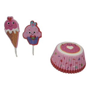 Pink and Red Valentine's Day Cupcake Kit for 24 with Ice Cream and Cupcake Picks