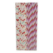 Load image into Gallery viewer, Valentine's Day 14 Count Striped and White Paper Straws Assorted – 2 Pack