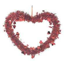Load image into Gallery viewer, Valentine's Day Red Tinsel Decoration – Hanging Heart and Wreath