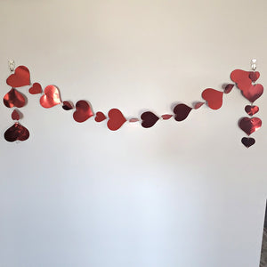 Valentine's Day Hanging Heart Garland 5 FT Multi-Color and Red