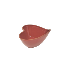 Red Cherry Heart-Shaped Terracotta Bowl 7.5 X 7 X 3