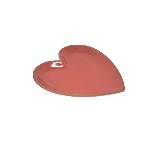 Red Cherry Heart-Shaped Terracotta Plate 8.5 X 9""
