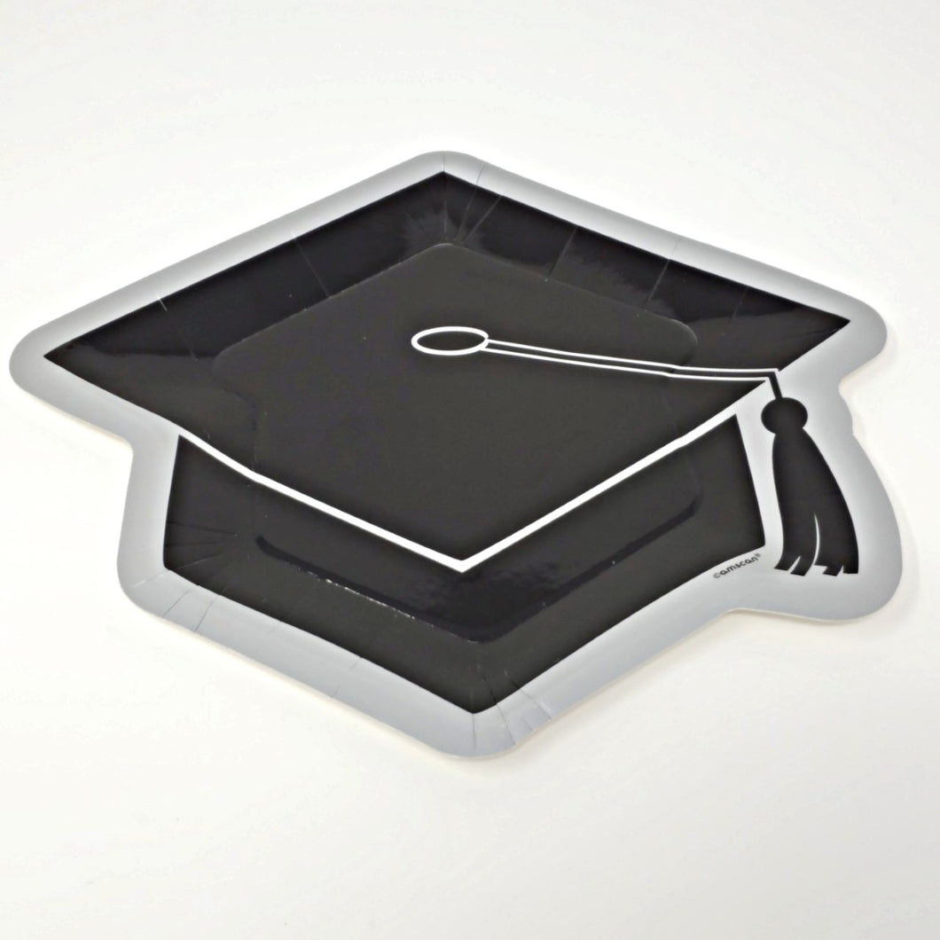 Graduation Cap 10.5 in Paper Dinner Plates – 8 Count